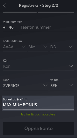 ComeOn bonuskod mobil