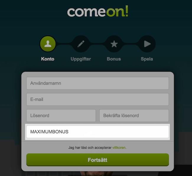 ComeOn bonuskod vid registrering