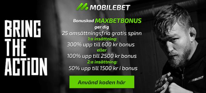 Mobilebet bonuskod och bonus