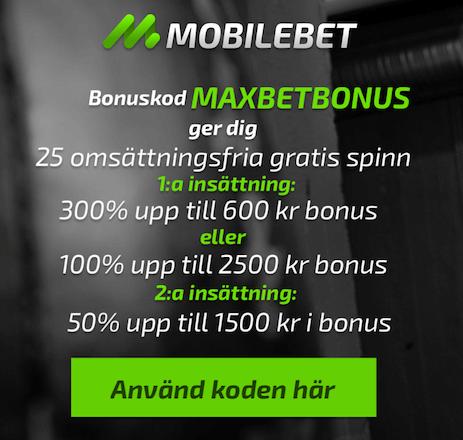 Mobilebet bonuskod och mobilbonus