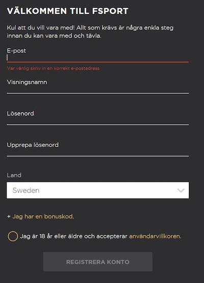 Registrera nytt FSport konto