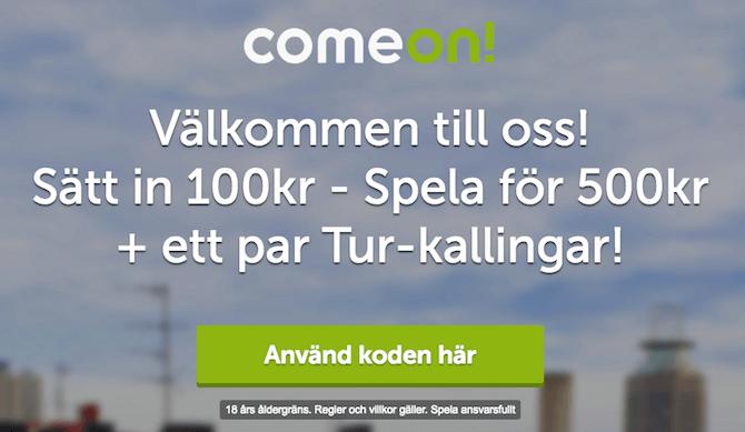ComeOn bonuskod 2018 och bonus